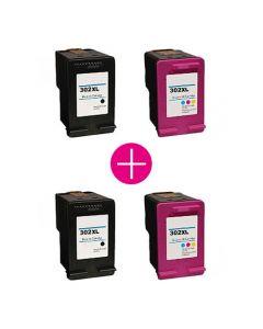 2 x Huismerk HP 302XL zwart + kleur