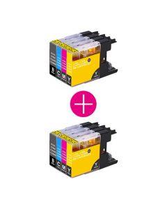 2 x Huismerk Brother LC-1280 XL multipack zwart + 3 kleuren