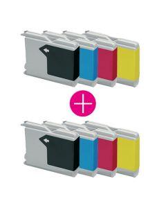 2 x Huismerk Brother LC-1000 multipack zwart + 3 kleuren