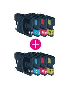 2 x Huismerk Brother LC-1100 XL multipack zwart + 3 kleuren