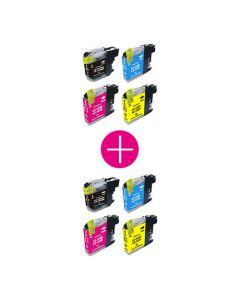 2 x Huismerk Brother LC-123 multipack zwart + 3 kleuren incl. chip