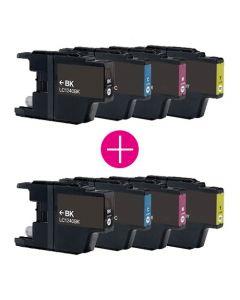 2 x Huismerk Brother LC-1240 multipack (zwart + 3 kleuren)