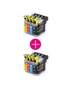 2 x Huismerk Brother LC-127 / LC-125 multipack zwart + 3 kleuren incl. chip