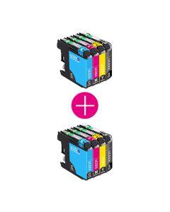 2 x Huismerk Brother LC-223 multipack zwart + 3 kleuren incl. chip