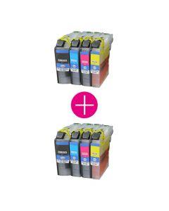 2 x Huismerk Brother LC-227 / LC-225 XL multipack zwart + 3 kleuren incl. chip
