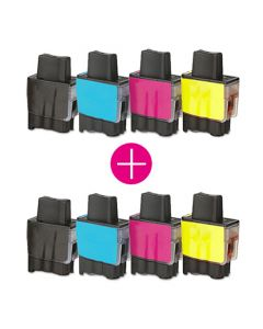 2 x Huismerk Brother LC-900 multipack zwart + 3 kleuren