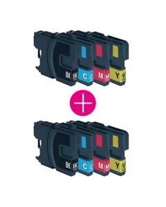2 x Huismerk Brother LC-980 XL multipack zwart + 3 kleuren