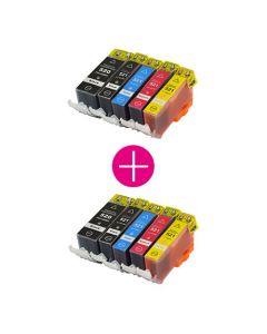 2 x Huismerk Canon PGI-520 + CLI-521 multipack 2 x zwart + 3 kleuren incl. chip