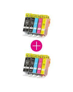 2 x Huismerk Canon PGI-525 + CLI-526 multipack 2 x zwart + 3 kleuren incl. chip