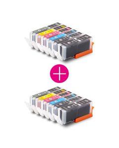 2 x Huismerk Canon PGI-570 XL + CLI-571 XL multipack 2 x zwart + 3 kleuren + grijs incl. chip
