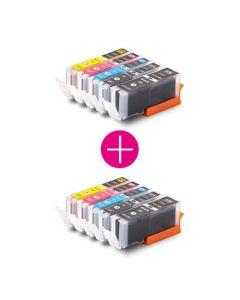 2 x Huismerk Canon PGI-570 XL + CLI-571 XL multipack 2 x zwart + 3 kleuren incl. chip