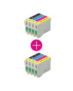 2 x Huismerk Epson T1285 multipack zwart + 3 kleuren incl. chip