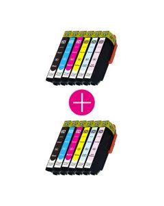 2 x Huismerk Epson 24XL (T2438) multipack zwart + 5 kleuren incl. chip