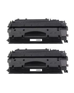 2 x Huismerk HP 05X (CE505X) zwart