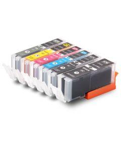Huismerk Canon PGI-570 XL + CLI-571 XL multipack 2 x zwart + 3 kleuren + grijs incl. chip