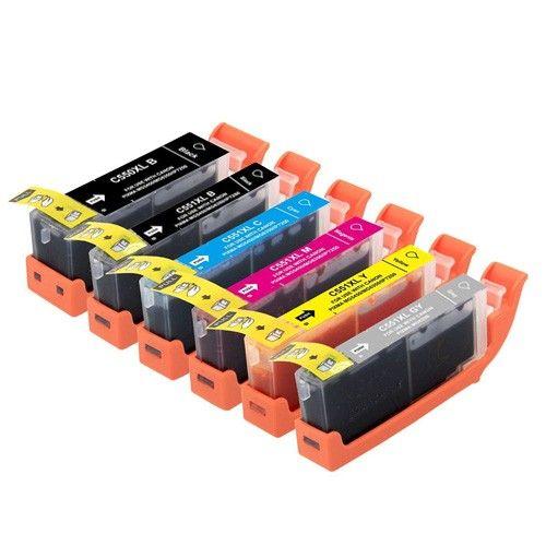 Huismerk Canon PGI-550 XL + CLI-551 XL multipack (2 x zwart + 3 kleuren) + grijs