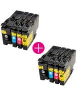 2 x Huismerk Brother LC-3237XL multipack (zwart + 3 kleuren)