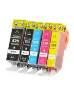 Huismerk Canon PGI-525 + CLI-526 multipack 2 x zwart + 3 kleuren incl. chip